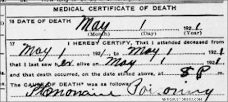 ptomaine poisoning death certificate destaques ciencia